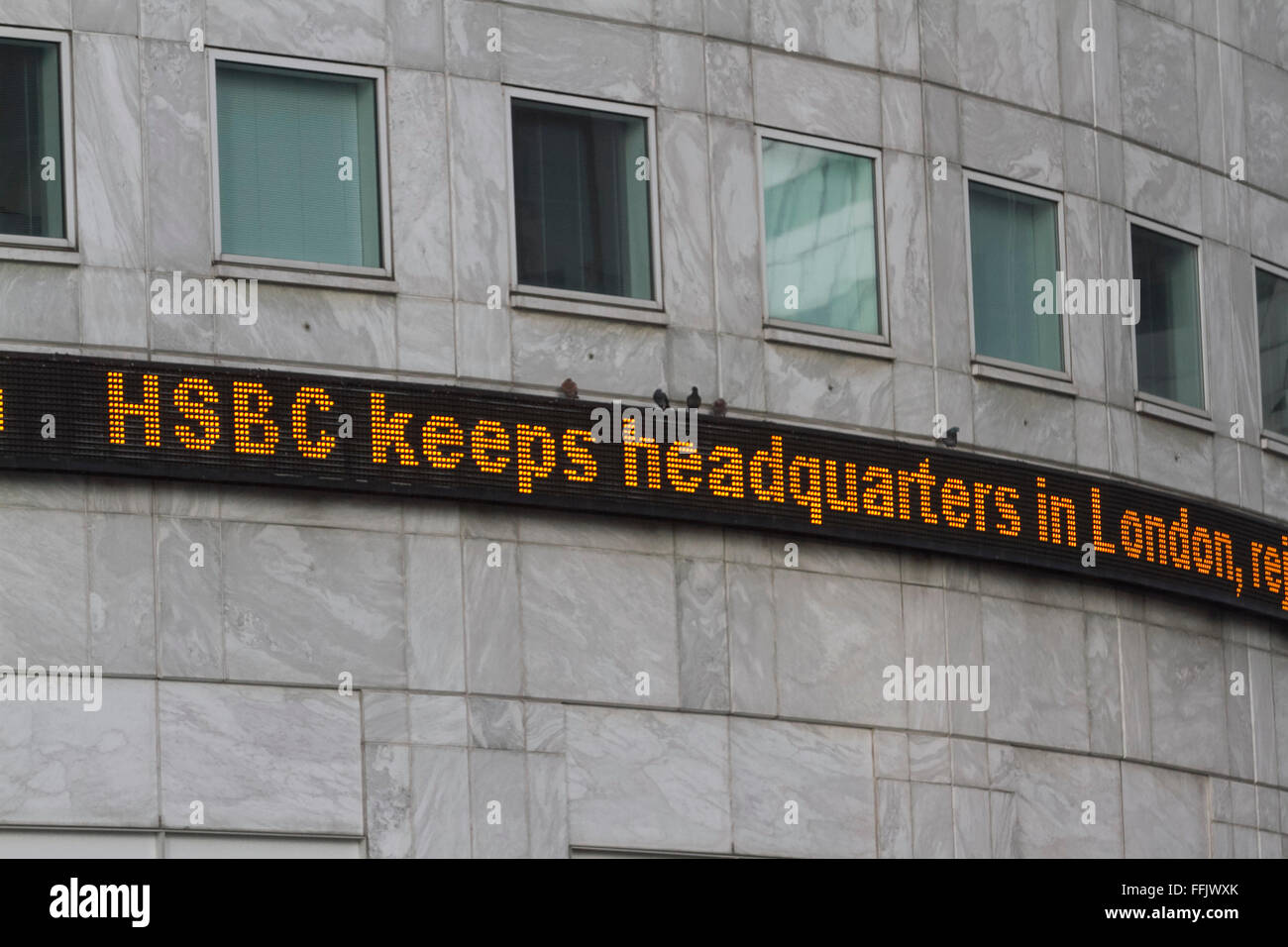 London UK. 15th February 2016. HSBC bank announced its decision not to relocate and to keep its Headquarters in Stock Photo