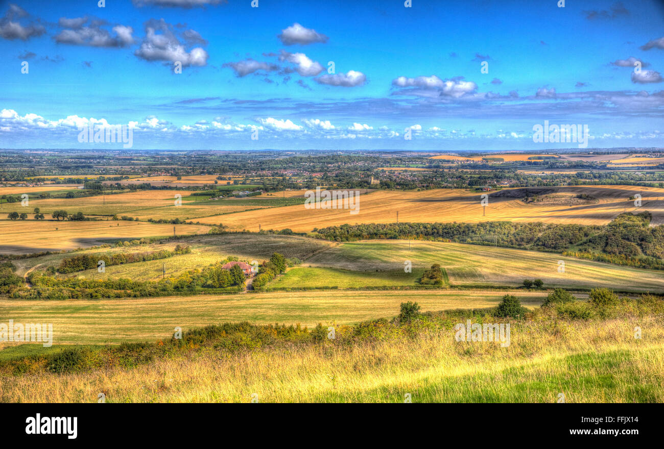English countryside view from Ivinghoe Beacon Chiltern Hills Bucks England UK between Dunstable Bedfordshire - Stock Image