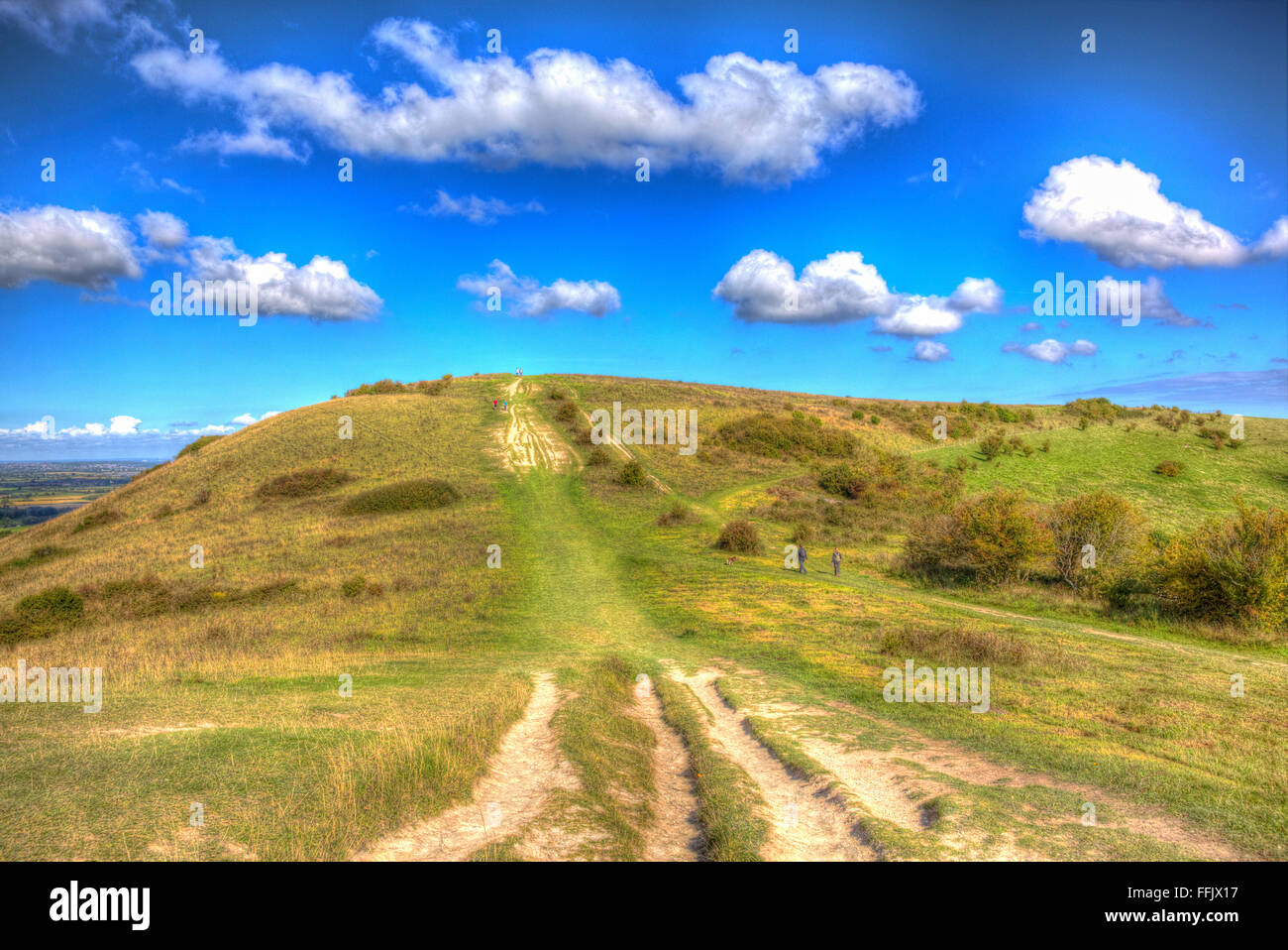 Path and walk to Ivinghoe Beacon Chiltern Hills Buckinghamshire England UK English countryside between Dunstable - Stock Image