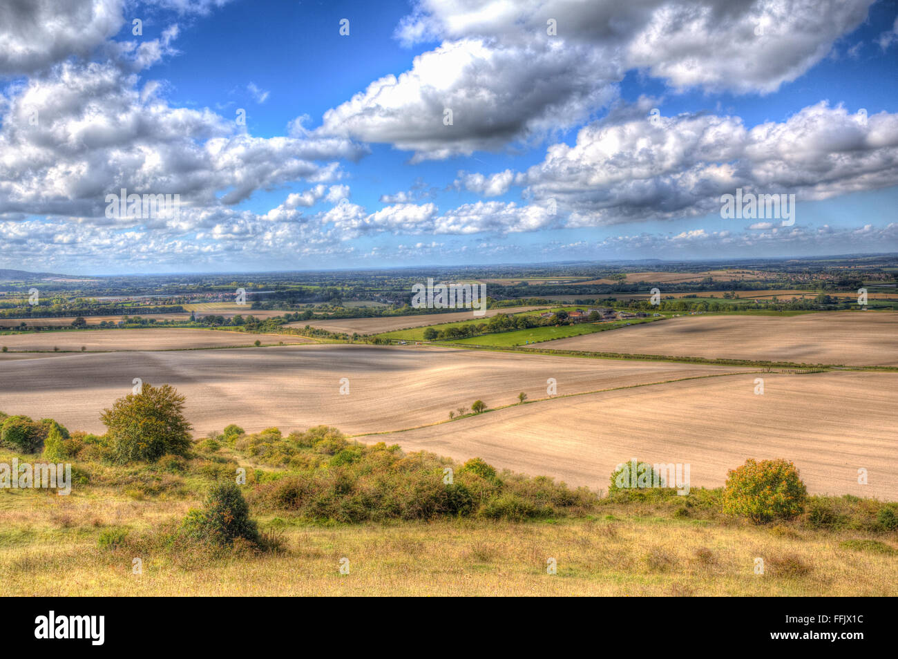 View from Ivinghoe Beacon Chilterns Hills Buckinghamshire England UK English countryside between Dunstable Bedfordshire - Stock Image