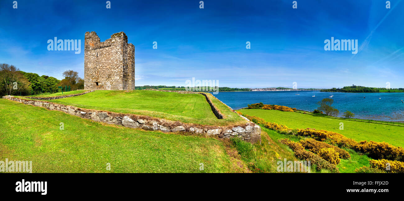 Audleys Castle County Down Northern Ireland 15th Century Tower House Historic Monument near Strangford Lough Ireland - Stock Image