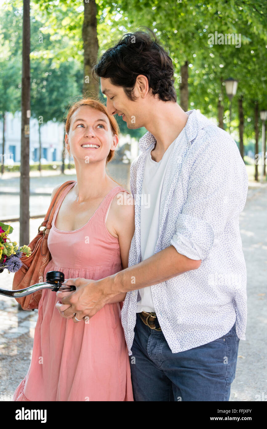 Couple falling in love in summer - Stock Image