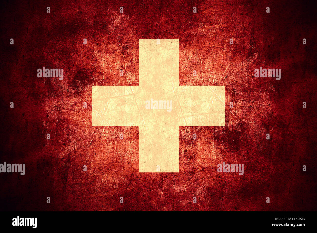 flag of Switzerland or Swiss banner on rough pattern texture vintage background - Stock Image