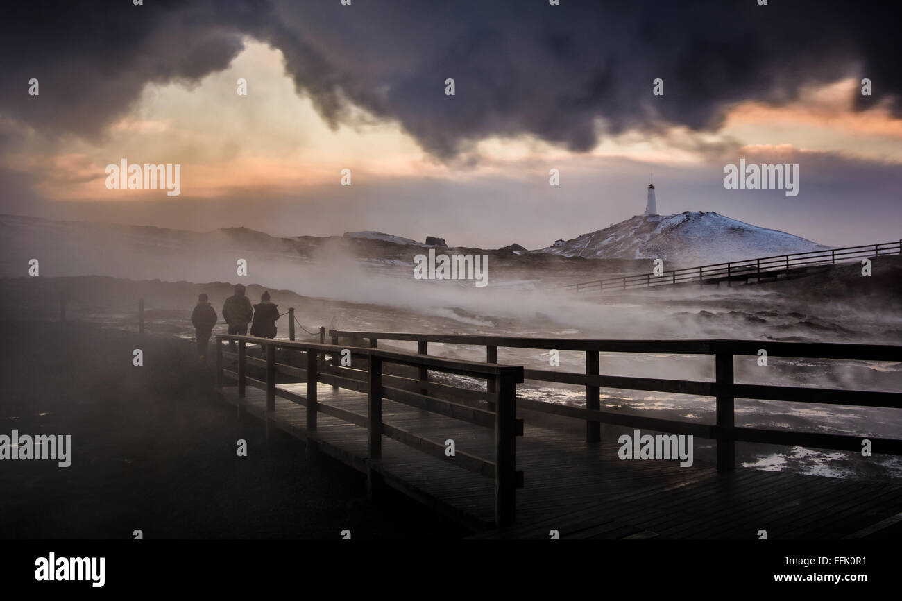 The mud pools and steam vents facing Kísilhóll hill to the northeast are collectively named Gunnuhver. - Stock Image