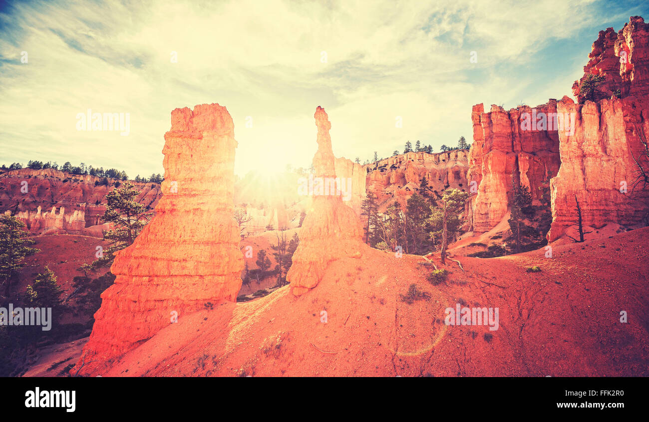 Vintage toned sunset in Bryce Canyon with lens flare effect. - Stock Image