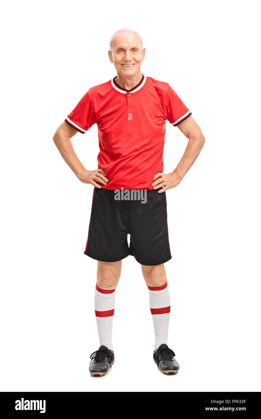 d36ebbc1b Full length portrait of a senior man in a red football jersey isolated on  white background