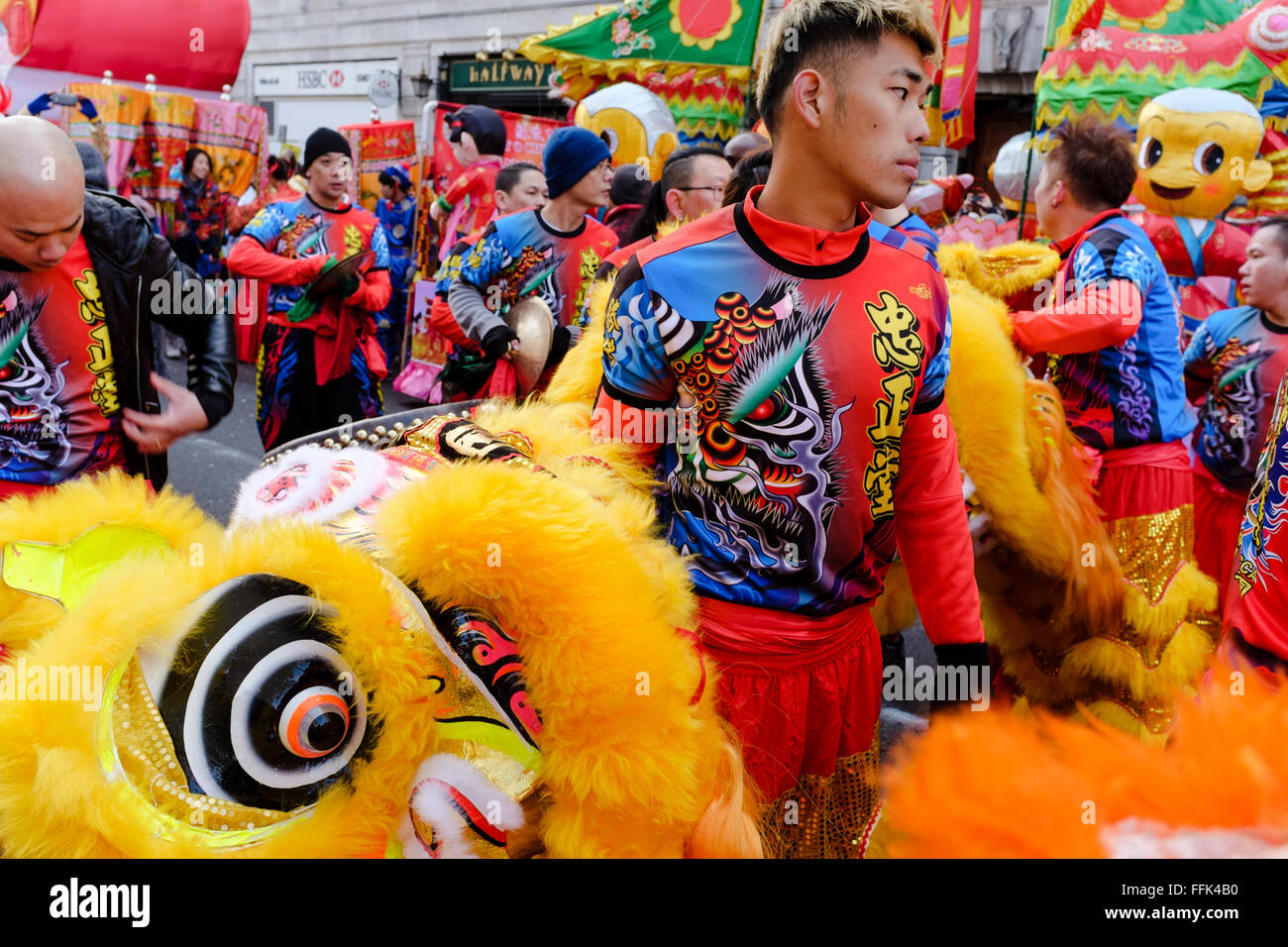 Chinese New Year, London: Lion dancers prepare for the parade - Stock Image
