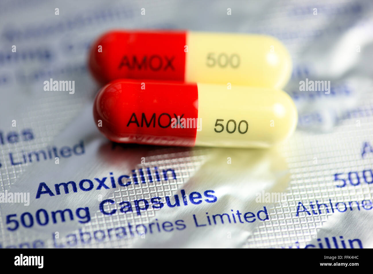 Amoxicillin capsules - Stock Image