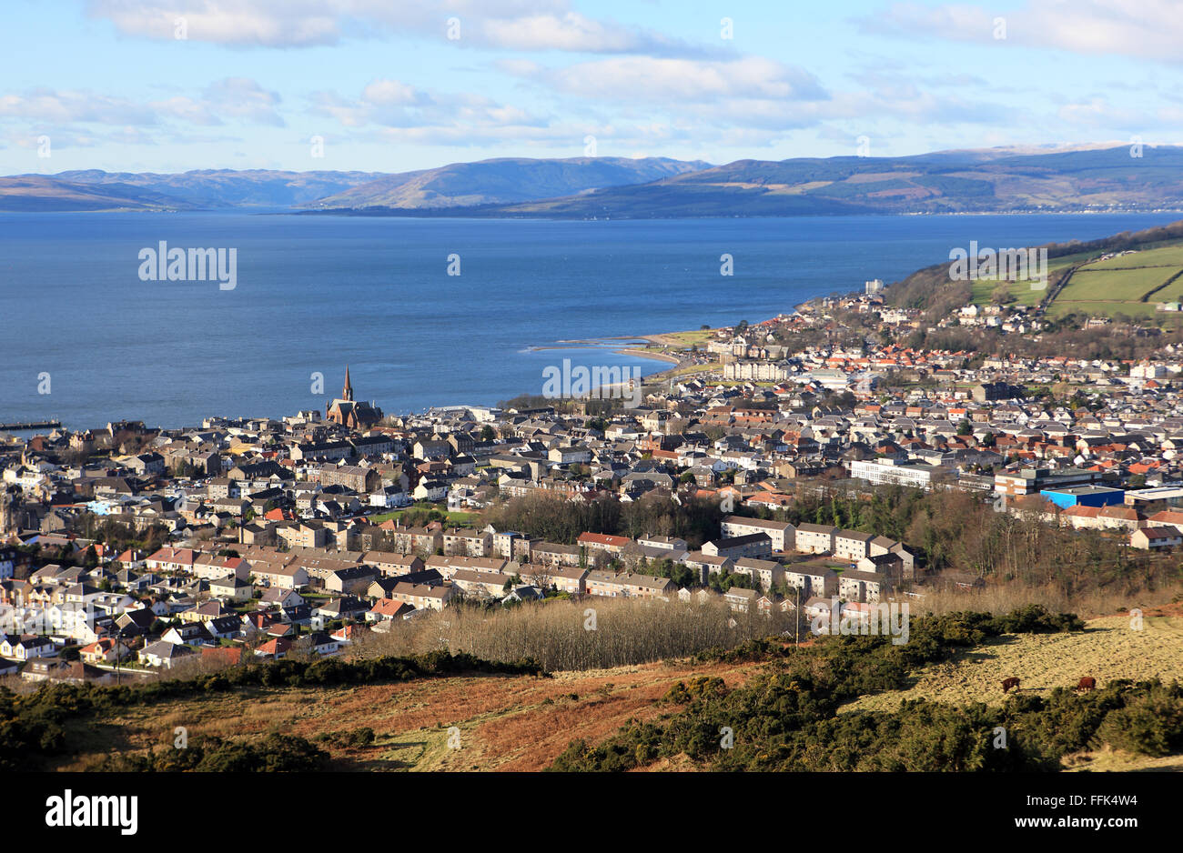 Largs the North Ayrshire town in Scotland from Castle Hill - Stock Image