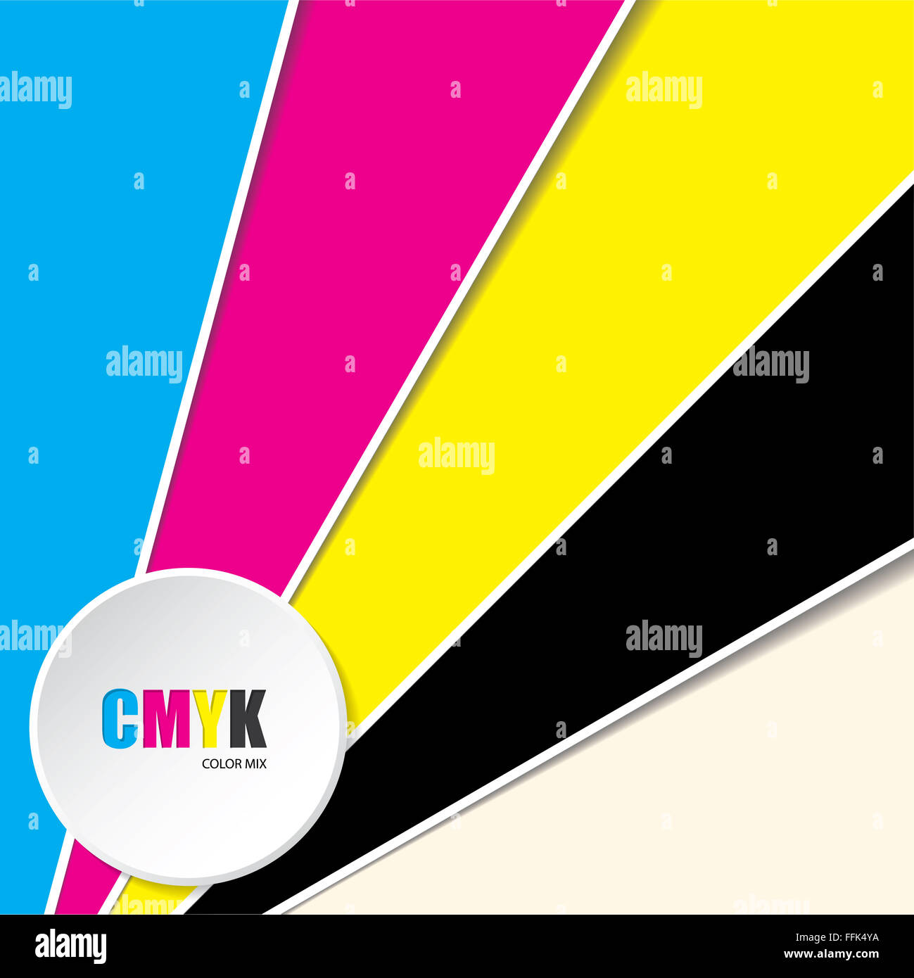 Abstract cmyk background with 3d button and CMYK text - Stock Image
