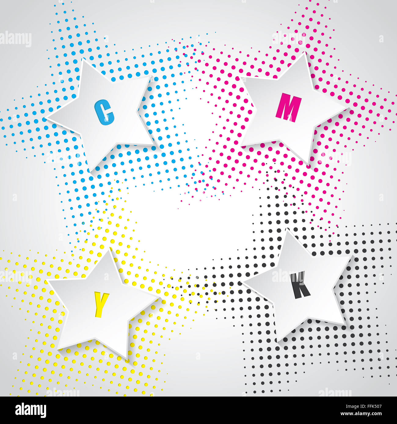 Abstract cmyk background with 3d stars and star halftones - Stock Image