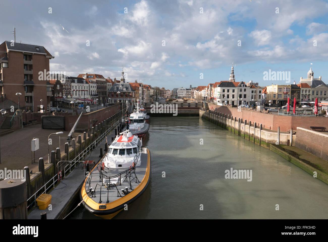 Altstadt, Hafen, Vlissingen, Provinz Seeland, Niederlande | old town, harbour, Vlissingen, North Sea Coast, Zeeland, - Stock Image