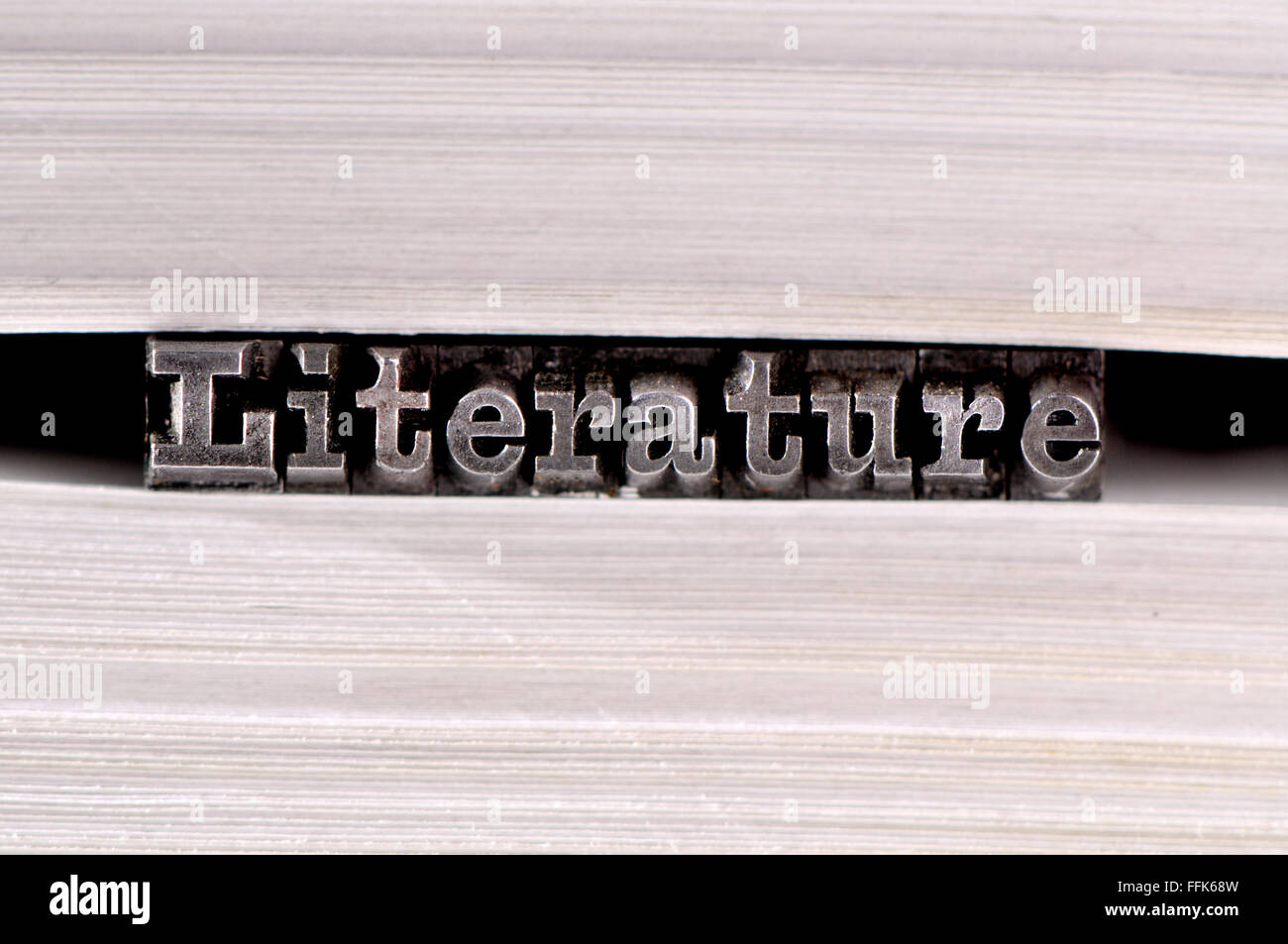 Letterpress characters spelling out Literature in the pages of a book - Stock Image