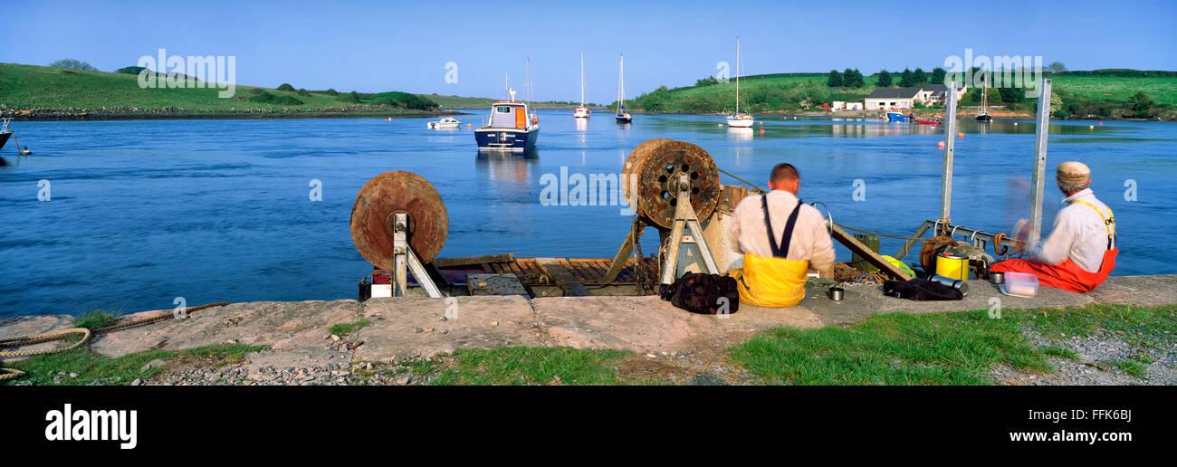Fishermen Strandford Lough Down Northern Ireland - Stock Image