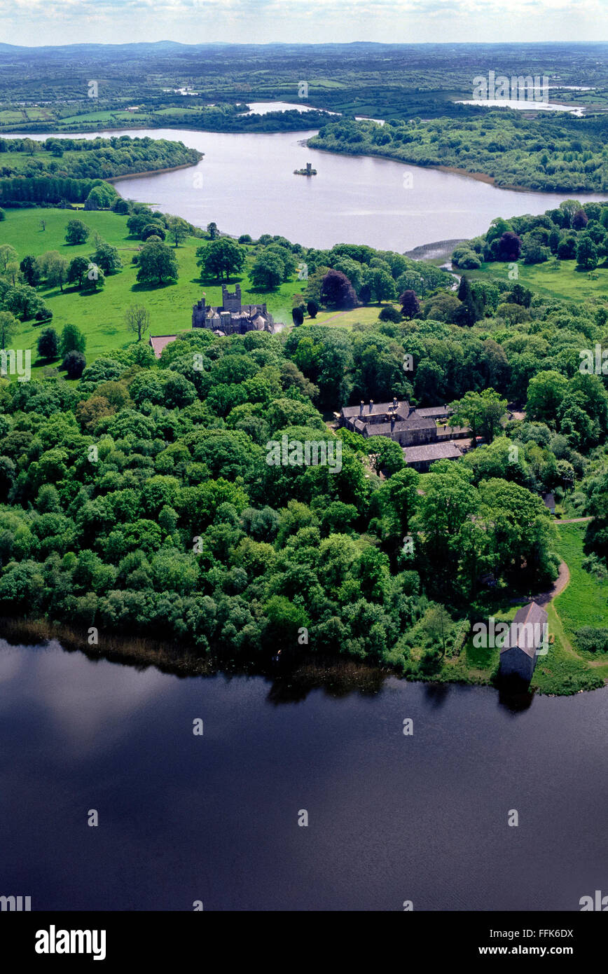 Aerial of Crom Castle upper lough erne Fermanagh Northern Ireland - Stock Image
