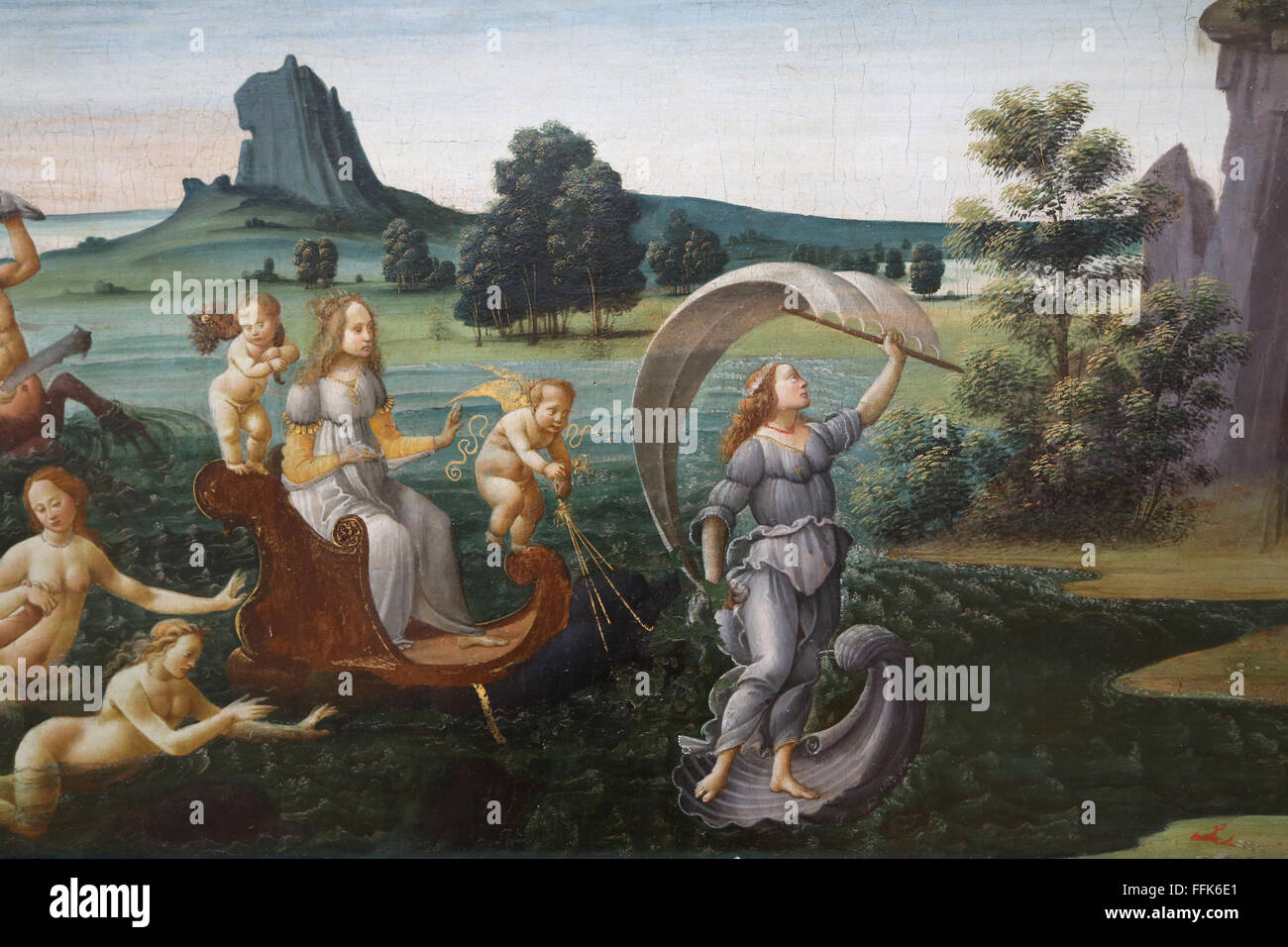 Procession of Thetis, 1490. Acccompanied by cupids and Fortune. By Bartolomeo di Giovanni (active 1488-1501). - Stock Image