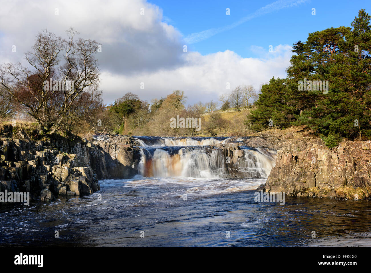 Low Force Waterfall River Tees Teesdale - Stock Image