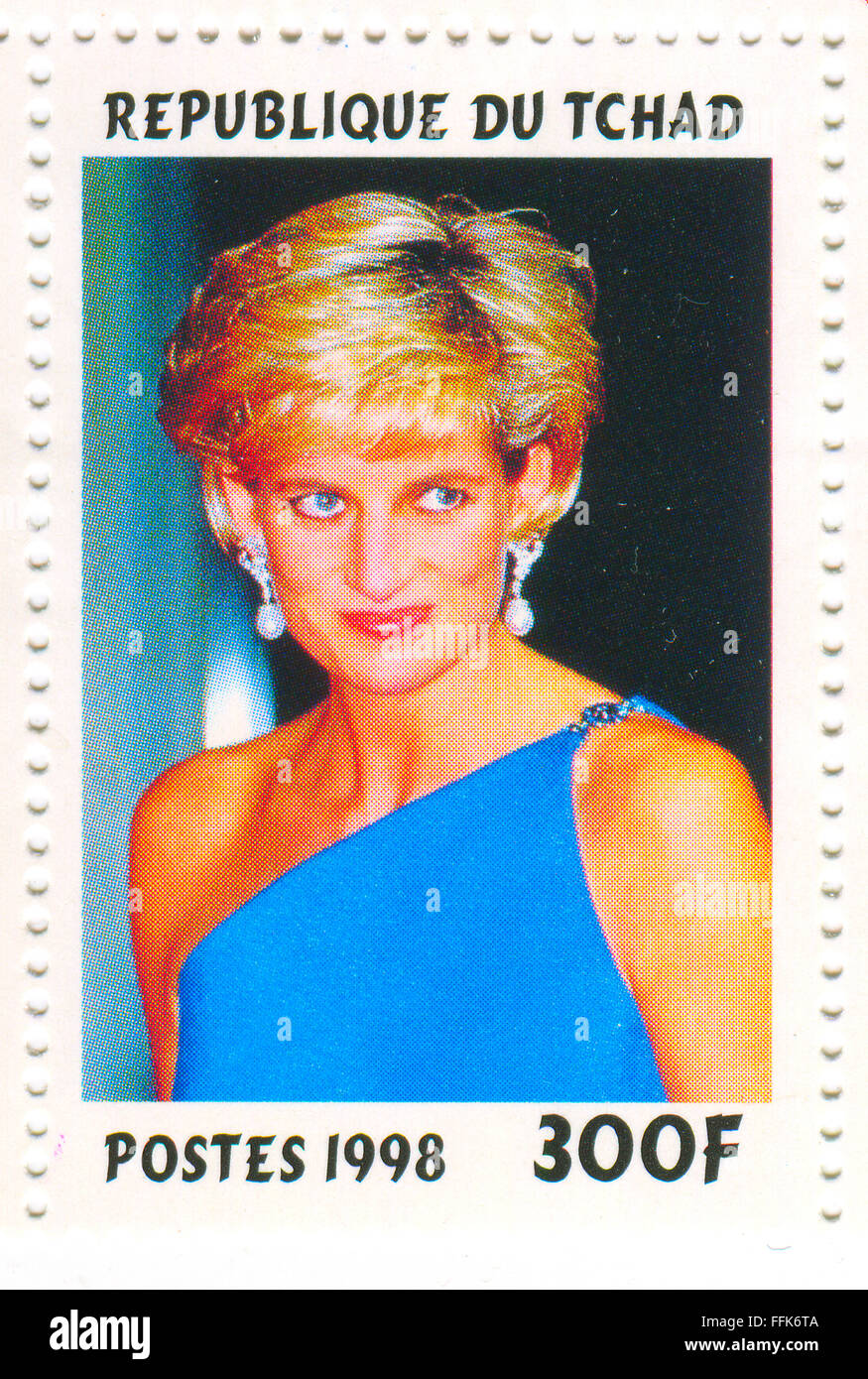 A stamp printed in Chad shows image of the Diana, Princess of Wales (1 July 1961 - 31 August 1997), was the first - Stock Image