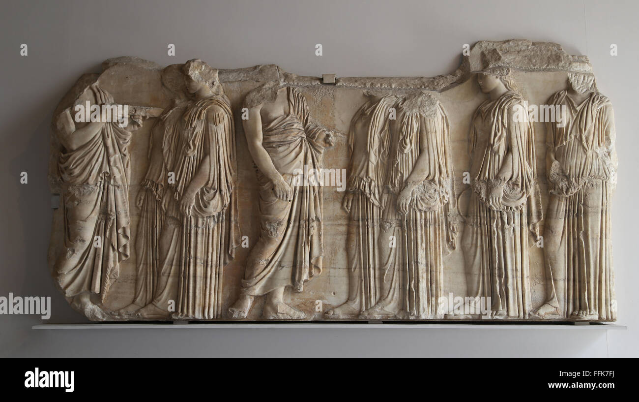 Plaque of the Ergastines. Fragment from frieze on the east side of the Parthenon. 445-448 BC. Marble. Athens. - Stock Image