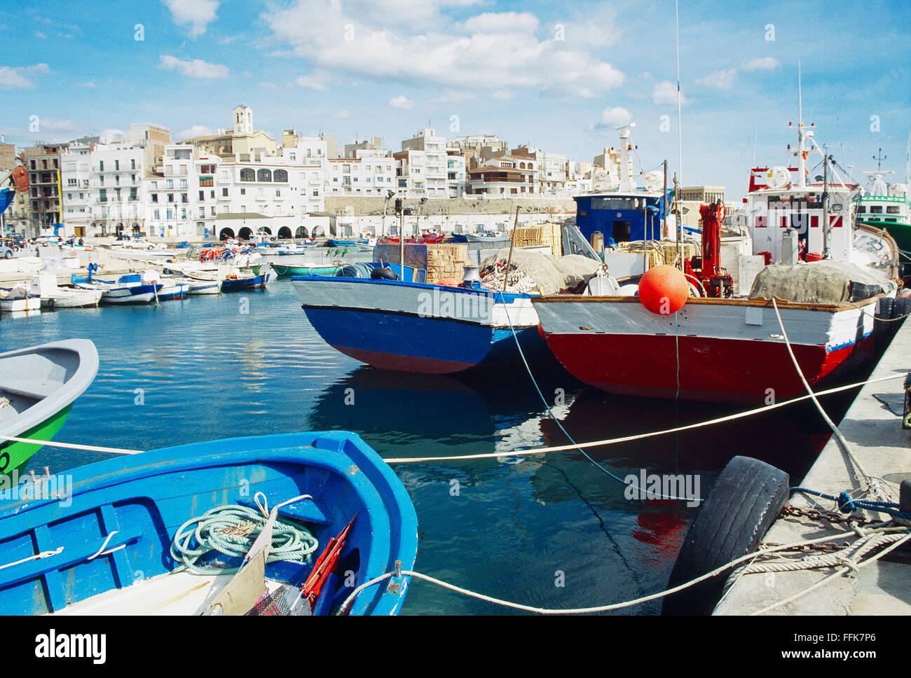 Harbour. L'Ametlla de Mar, Tarragona province, Catalonia, Spain. - Stock Image
