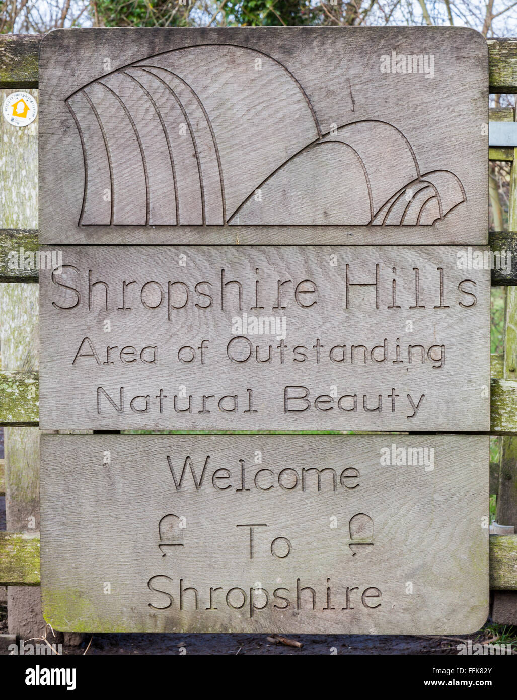 Shropshire Hills Area of Outstanding Natural beauty sign on Offa's Dyke on the English/Welsh border near Knighton, - Stock Image