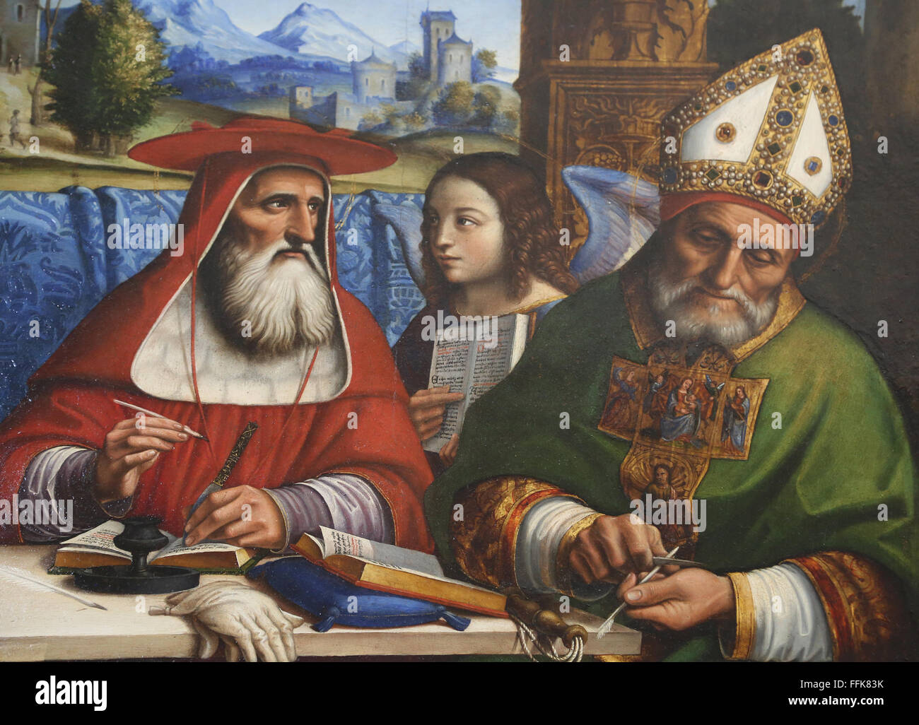 Four doctors of the Church represented with attributes of the four Evangelist, ca 1516. By Francesco Sacchi (16th - Stock Image