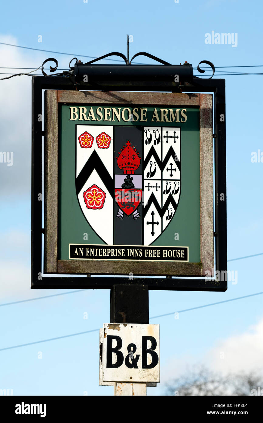 Brasenose Arms pub sign, Cropredy, Oxfordshire, England, UK - Stock Image