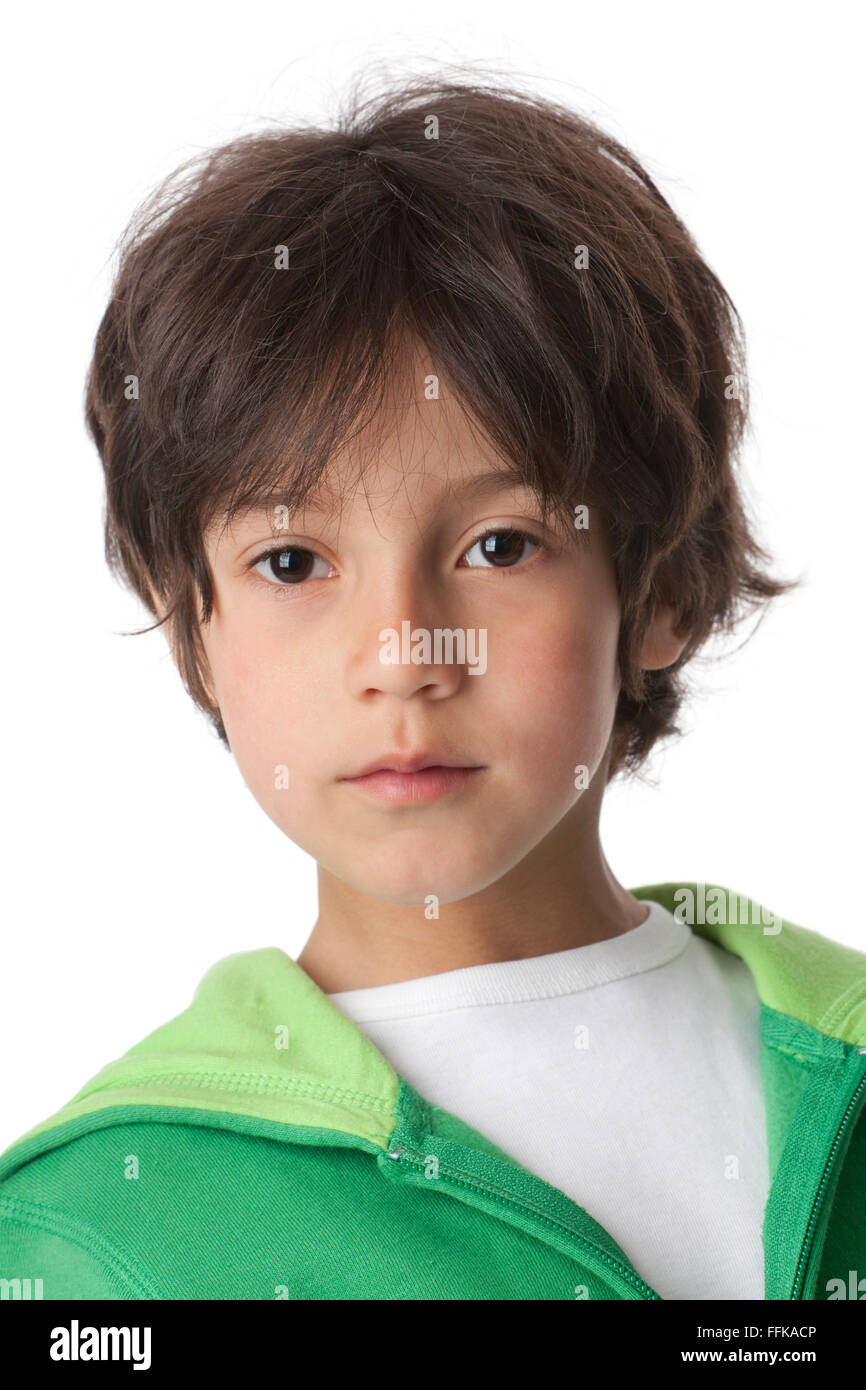 Portrait of a cool little boy  on white background - Stock Image