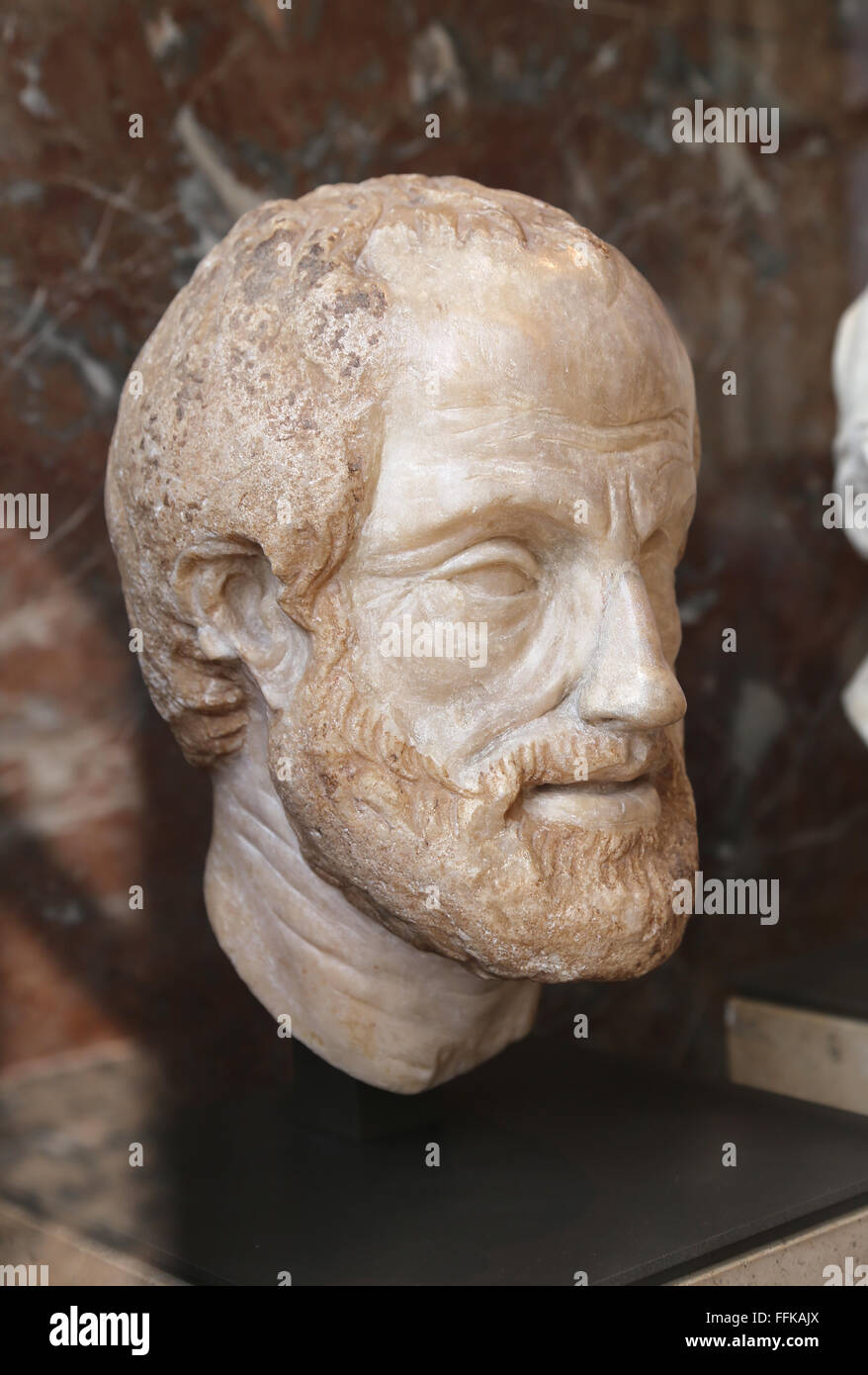 Aristotle (284-322 BC). Greek philosopher. Portrait. Copy of the imperial era (1st or 2nd century). - Stock Image