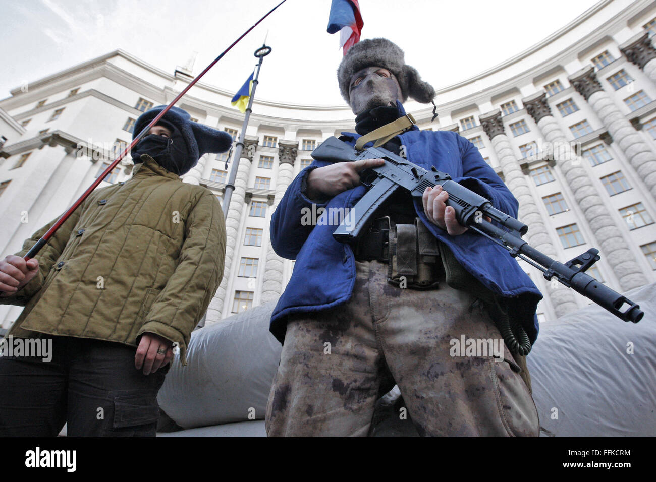 Feb. 15, 2016 - Kiev, Ukraine - Ukrainian activists during a perfomance in the similitude of pro-Russian separatists,as - Stock Image
