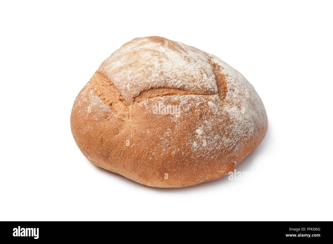 Whole Fresh Artisan Loaf Of Bread On White Background