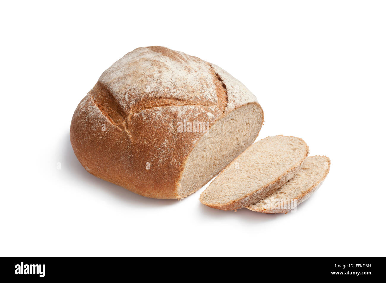Whole Fresh Artisan Loaf Of Bread And Slices On White Background
