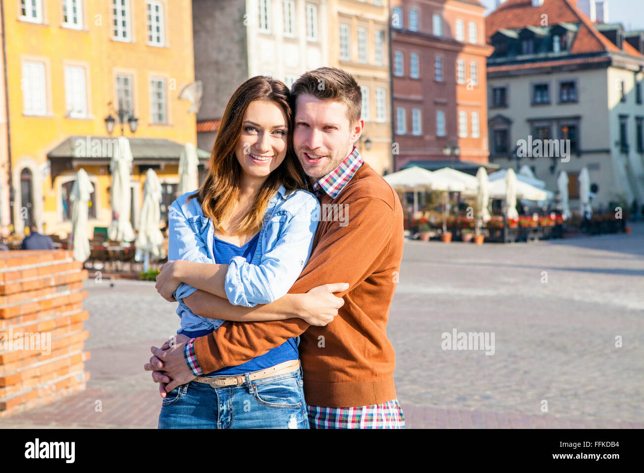 Portrait of happy mid adult couple in Warsaw - Stock Image