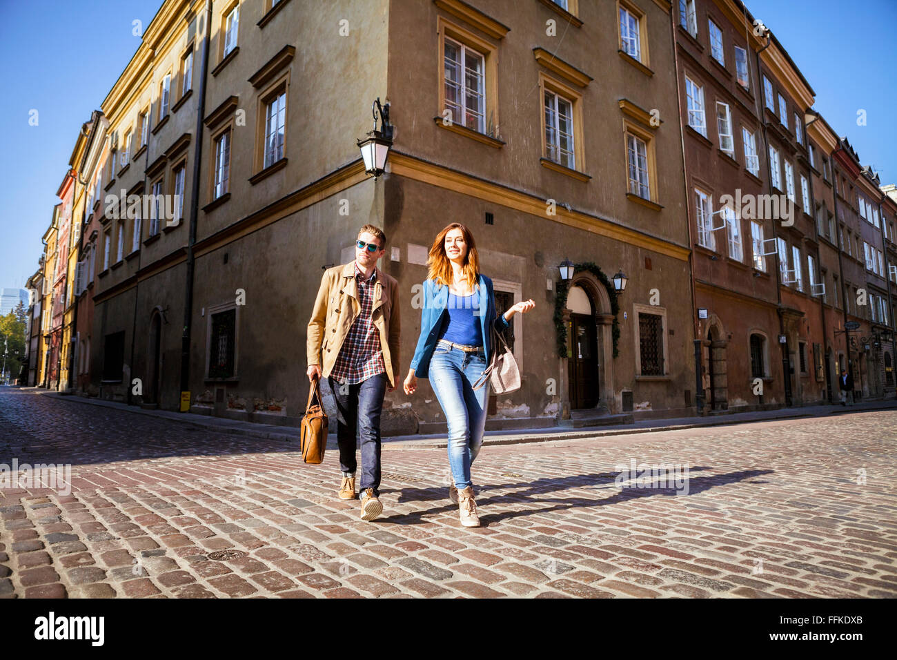 Mid adult couple on a city break in Warsaw - Stock Image