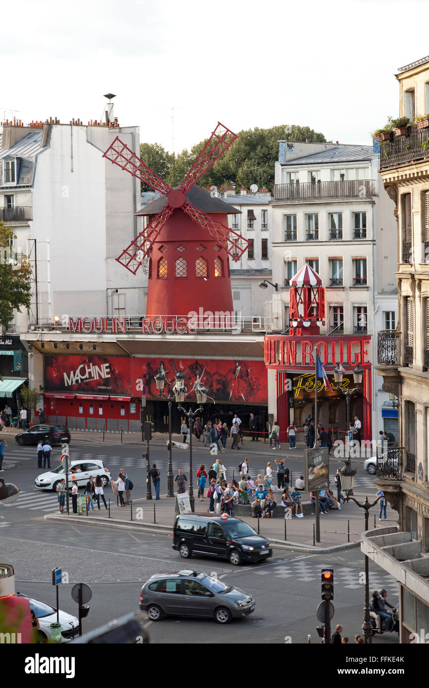 Moulin Rouge Montmartre Paris France in daytime - Stock Image