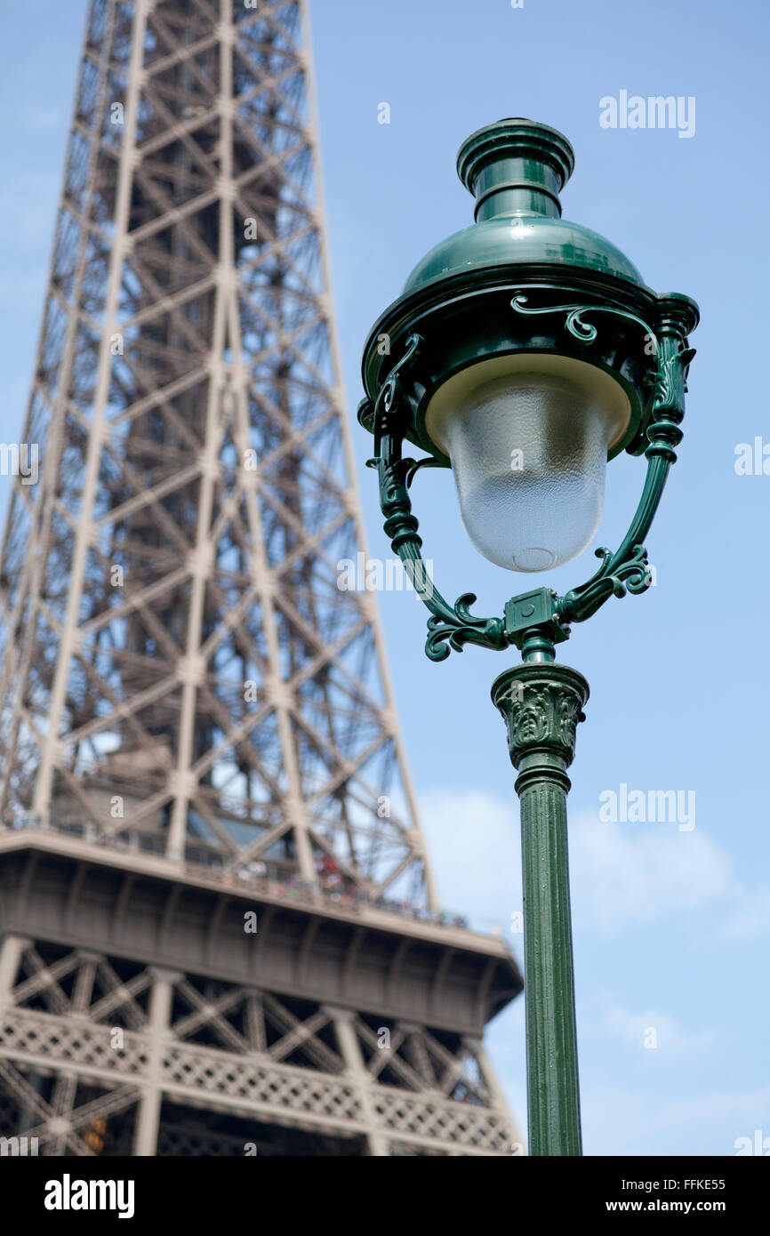 Eiffel tower and French lantern Paris France - Stock Image