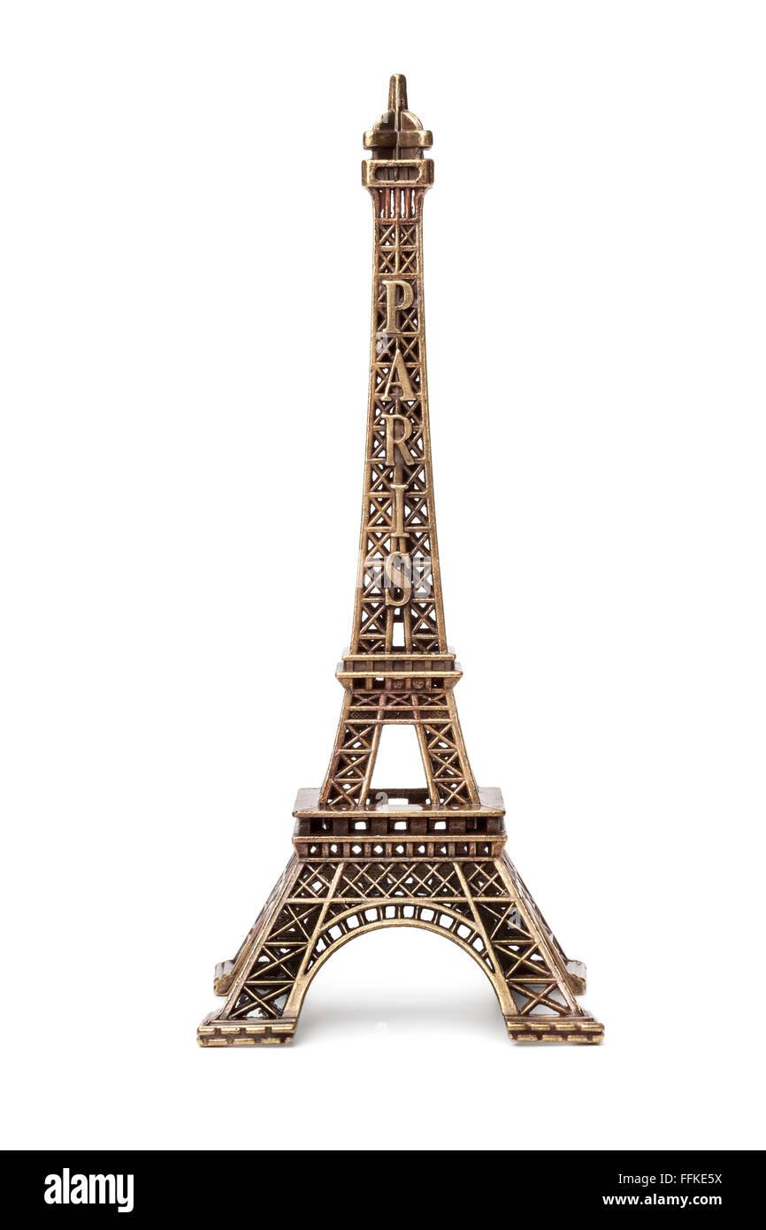 Miniature Eiffel tower souvenir on white background - Stock Image