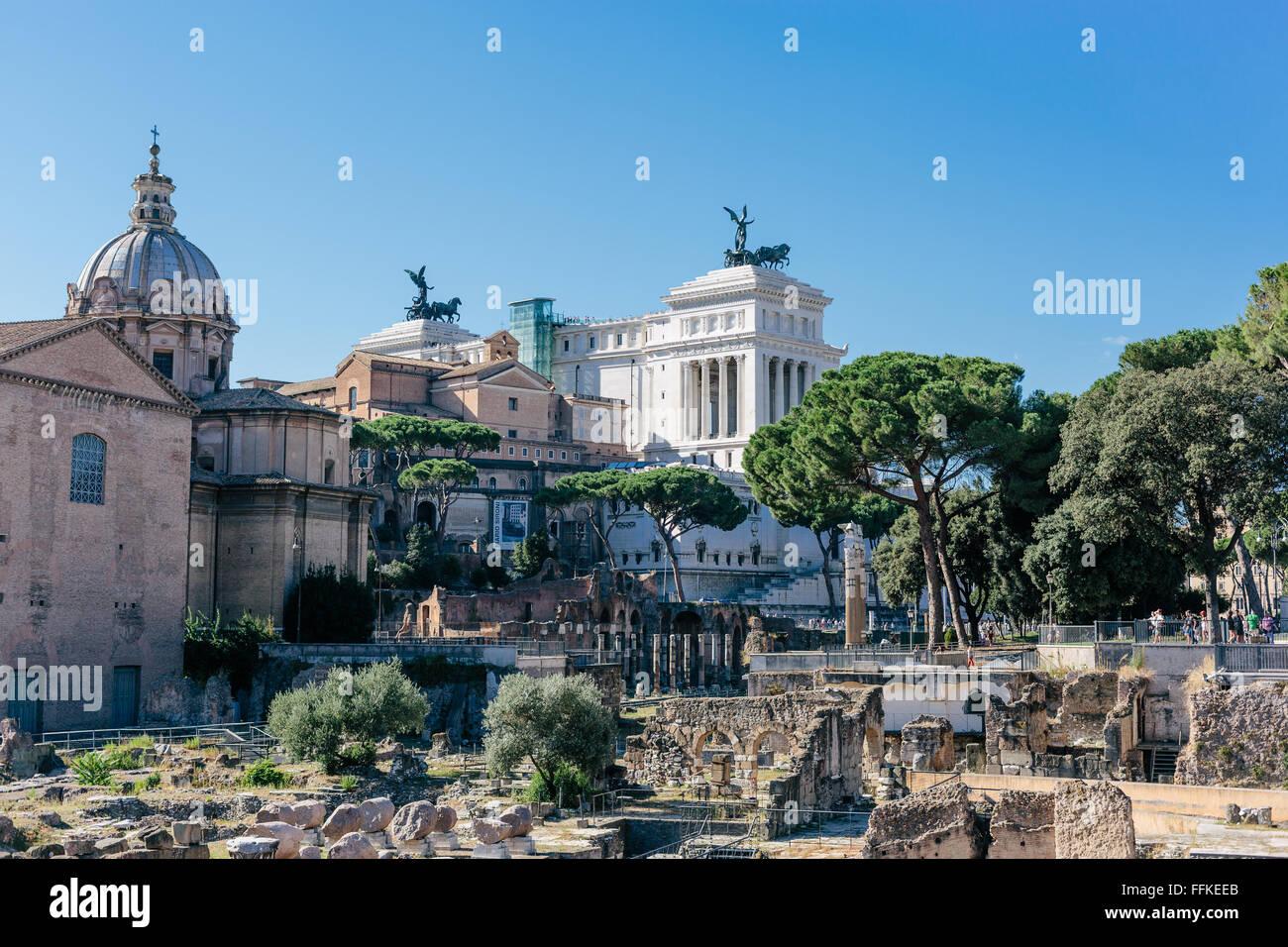 Foro di Cesare at Roman Forum [Foro Romano], Rome, Italy - Stock Image