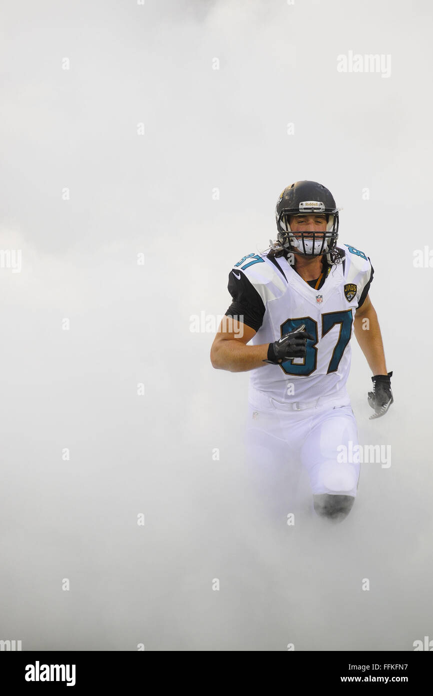 Jacksonville, FL, USA. 24th Aug, 2013. Jacksonville Jaguars tight end Allen Reisner (87) during a preseason NFL Stock Photo
