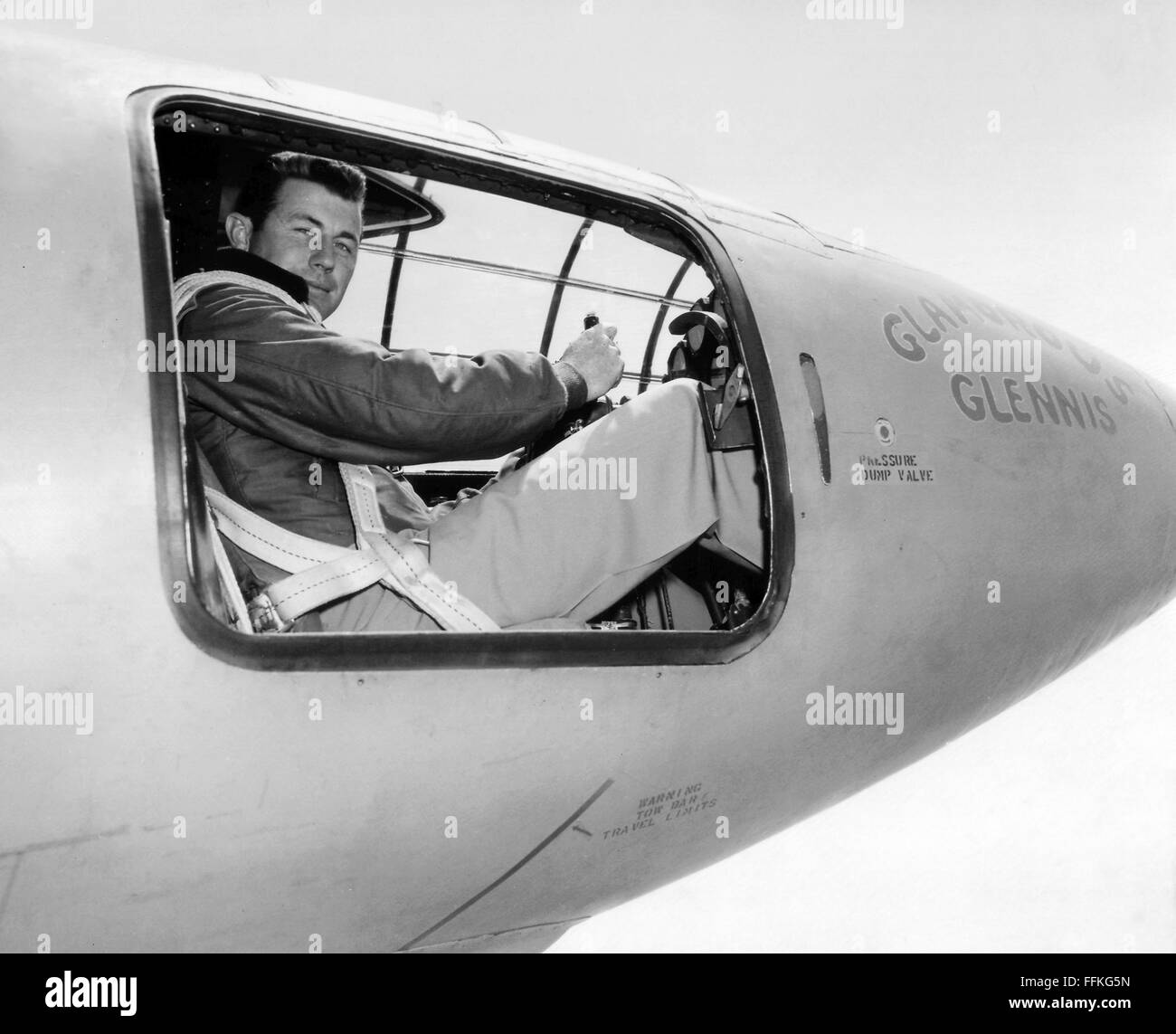 """Chuck Yeager. US Air Force test pilot Chuck Yeager in the cockpit of the Bell X-1 """"Glamorous Glennis"""" in which he broke the sound barrier. Photo c.1947 by USAF Stock Photo"""