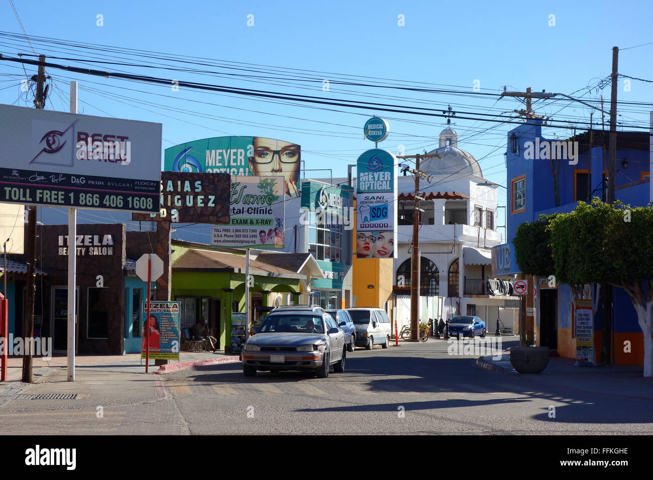 street view of los algodones, mexico showing several optical shops