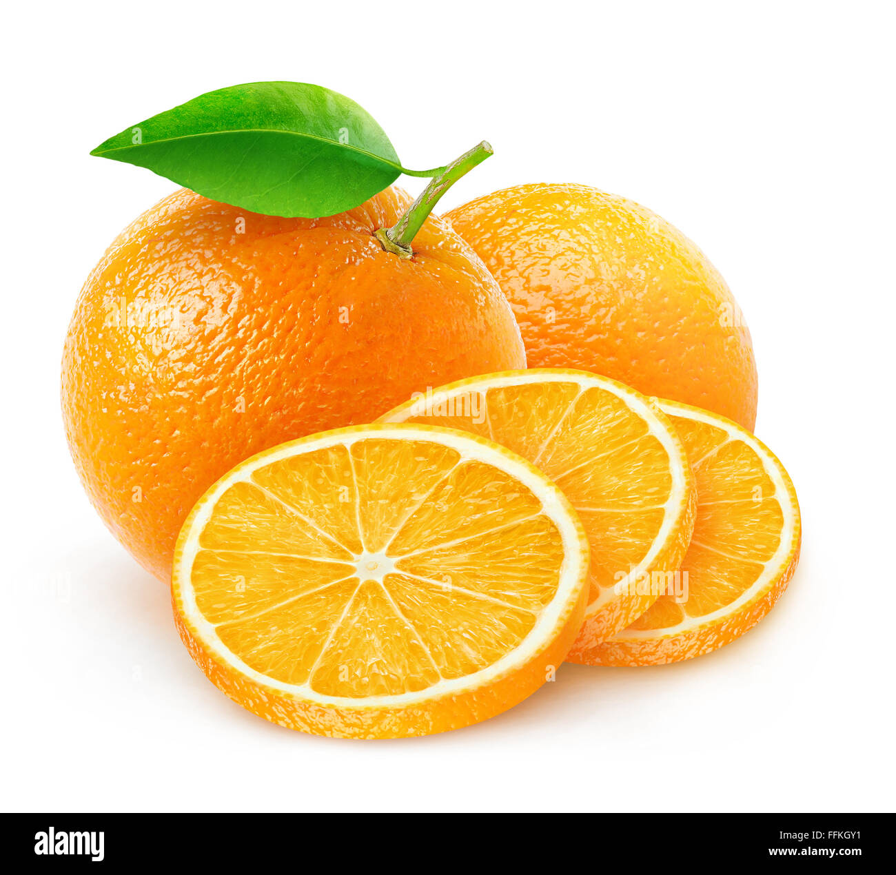 Cut oranges isolated on white with clipping path - Stock Image