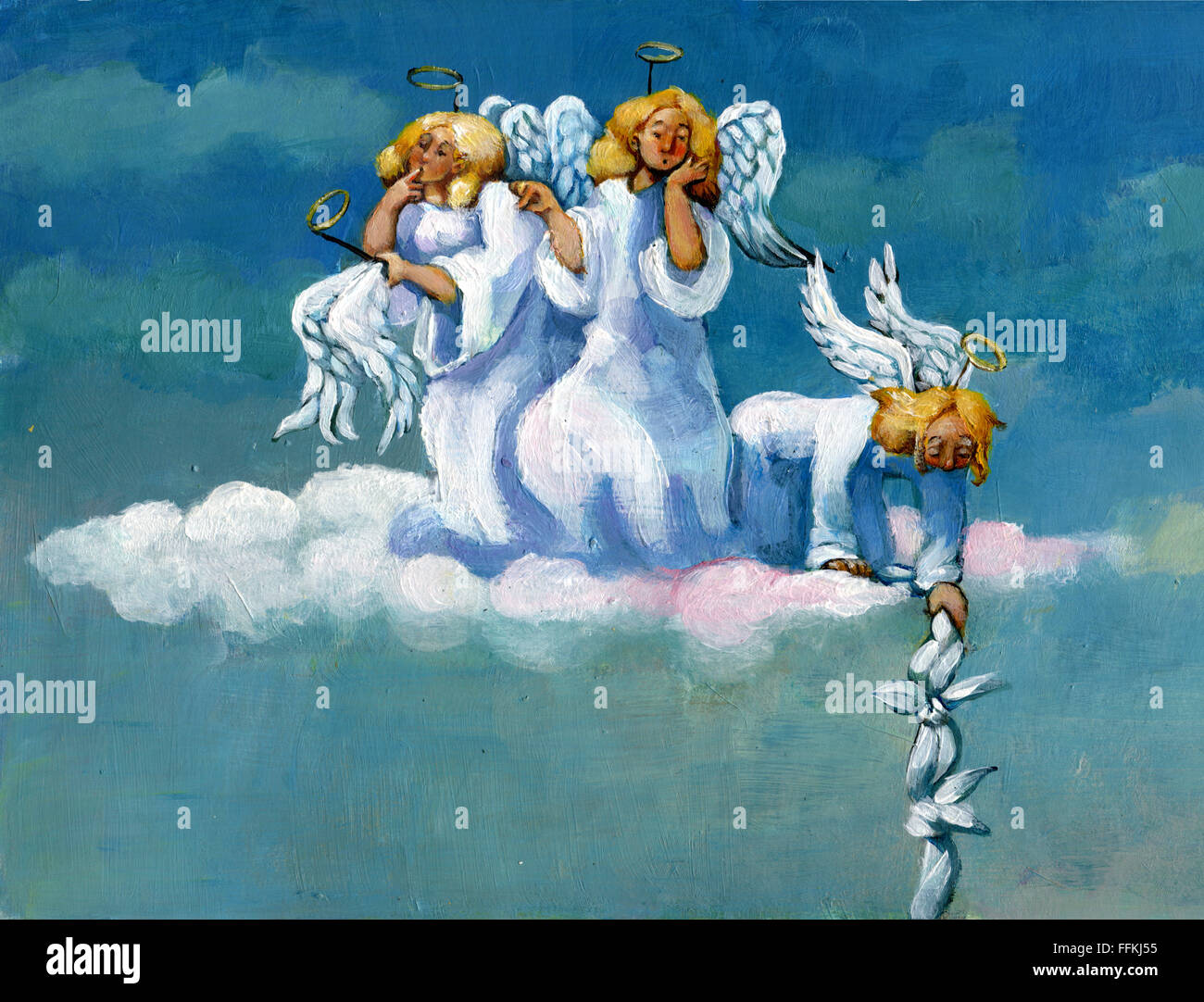 Three angels are questioning the escape of one of their classmates - Stock Image
