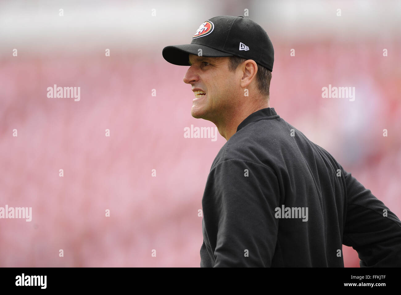 Tampa, FL, USA. 15th Dec, 2013. San Francisco 49ers head coach Jim Harbaugh prior to his team's game against - Stock Image