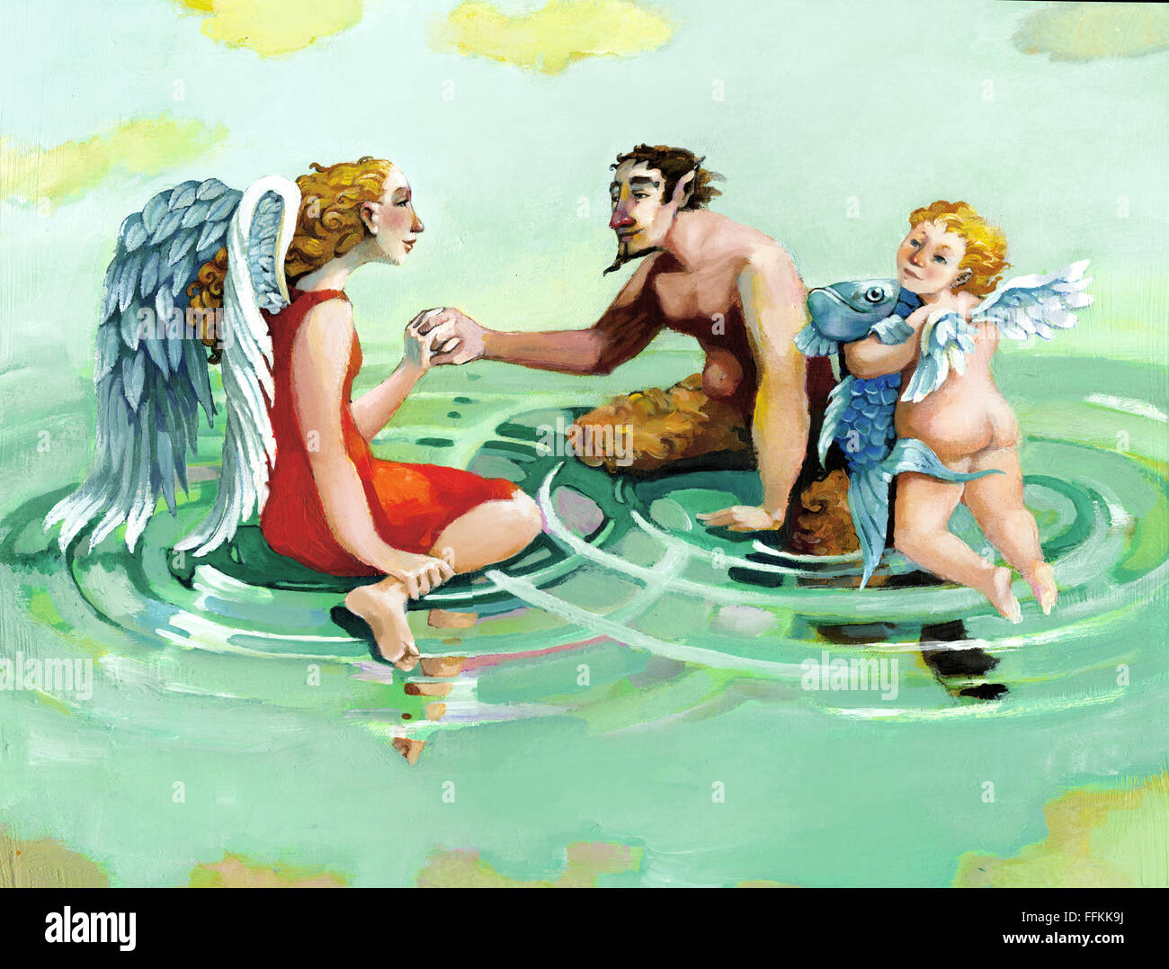 An angel, a cherub and a faun floating in a sky forming circles of water - Stock Image