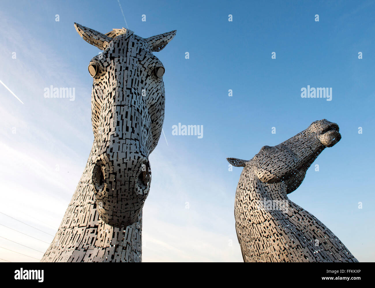 2nd February 2016, The Kelpies sculpture by Andy Scott, two giant horses heads in stainless steel, The Helix, Falkirk - Stock Image