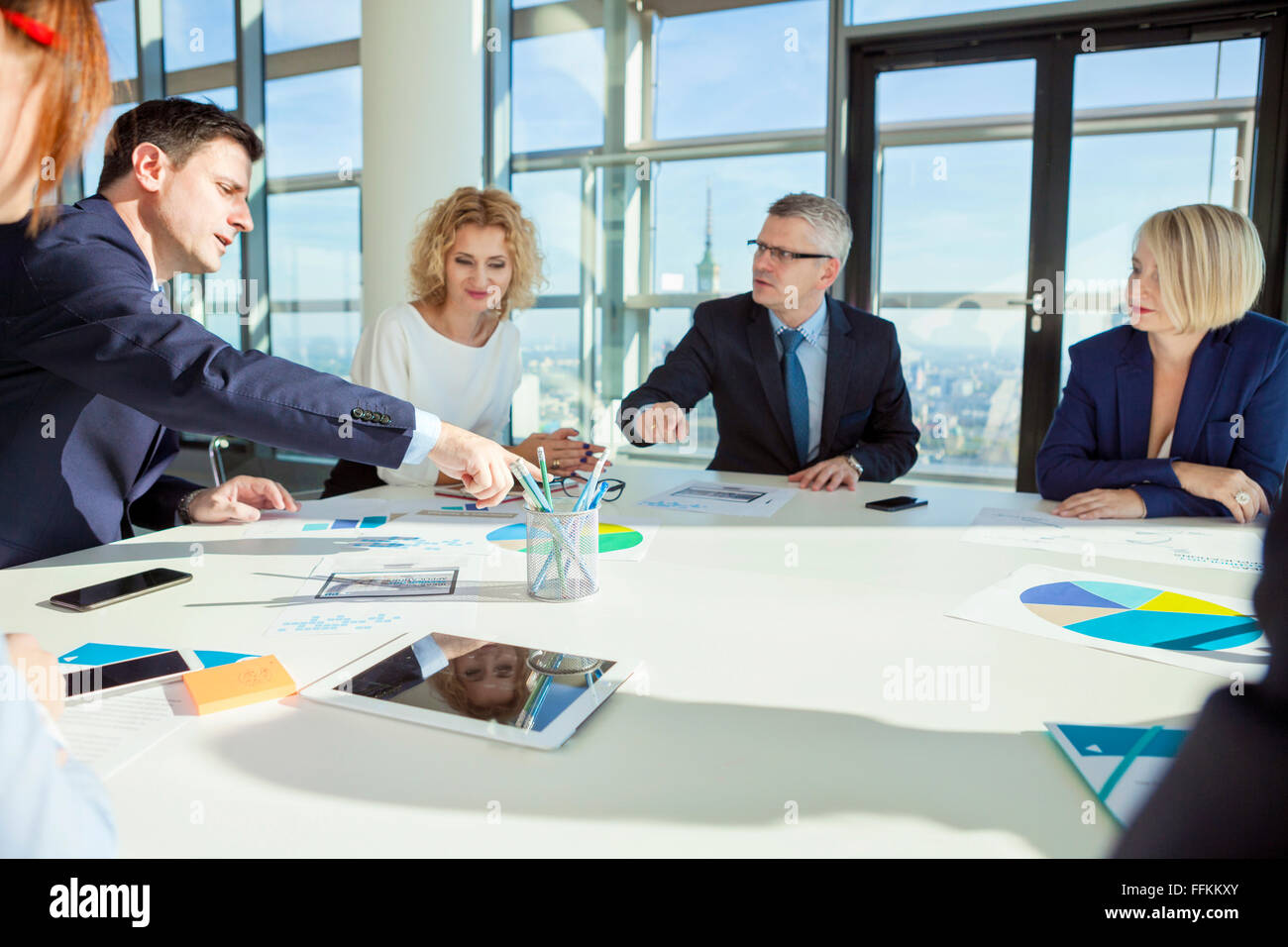Team of architects in business meeting - Stock Image