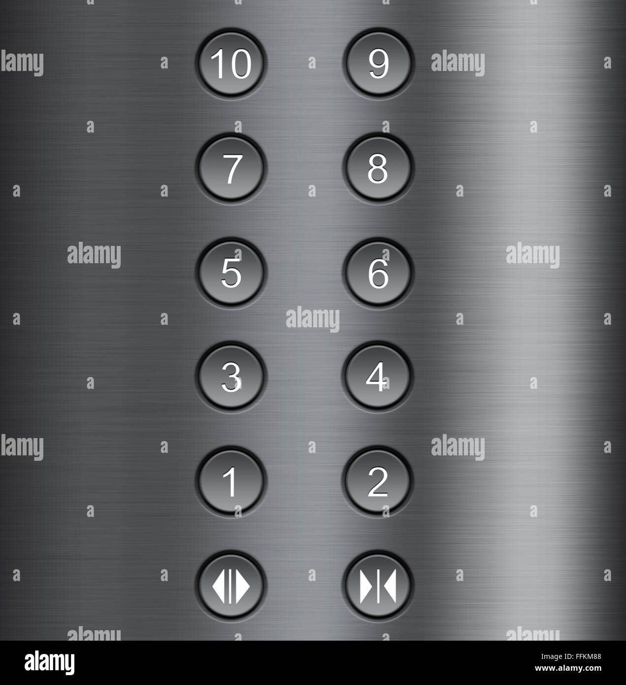 Background With A Metal Elevator Buttons Stock Photo