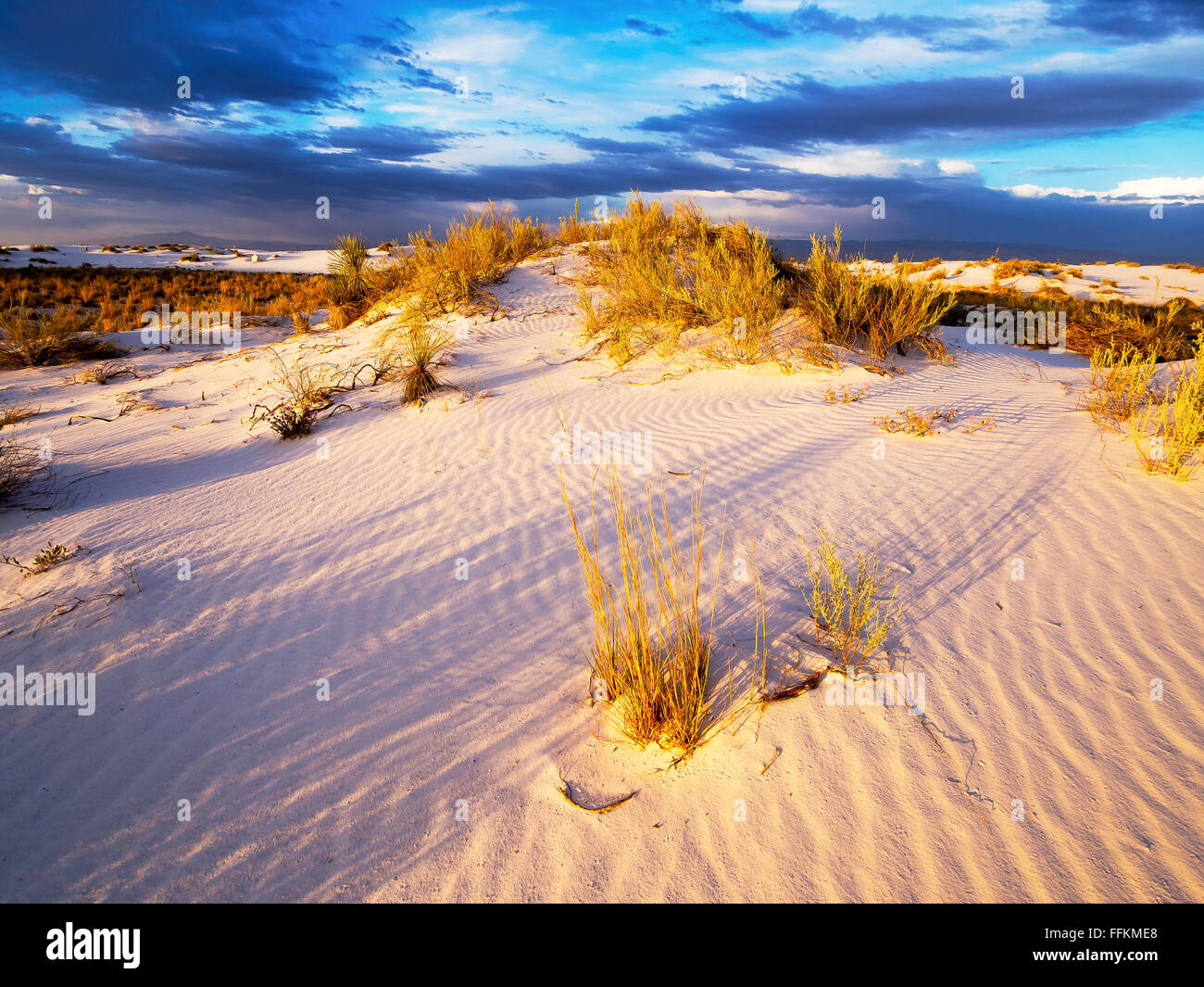 White Sands National Monument - Sunset - Stock Image