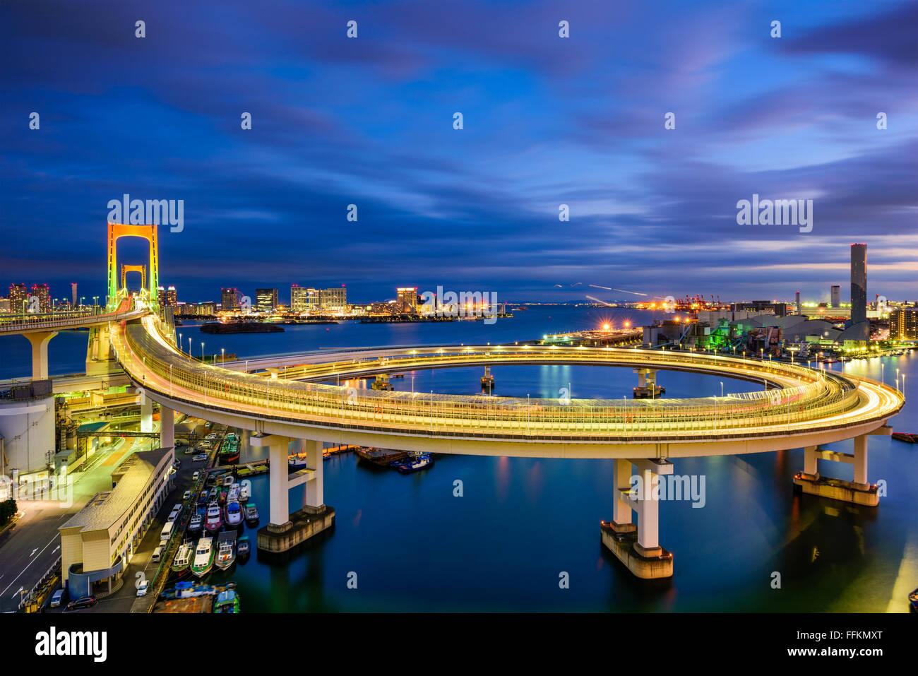 Tokyo, Japan view of Rainbow Bridge loop. - Stock Image